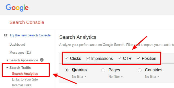 how to check keyword rank on google search console