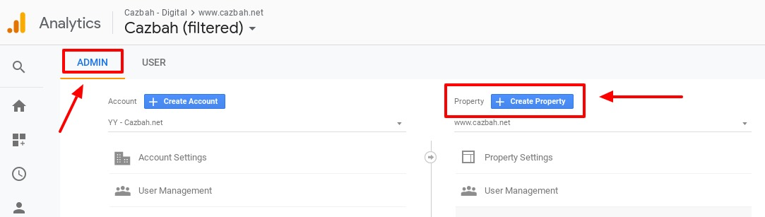 how to create a new property in google analytics