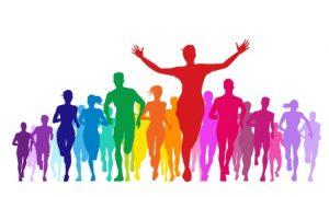 marathon and colorful crowd