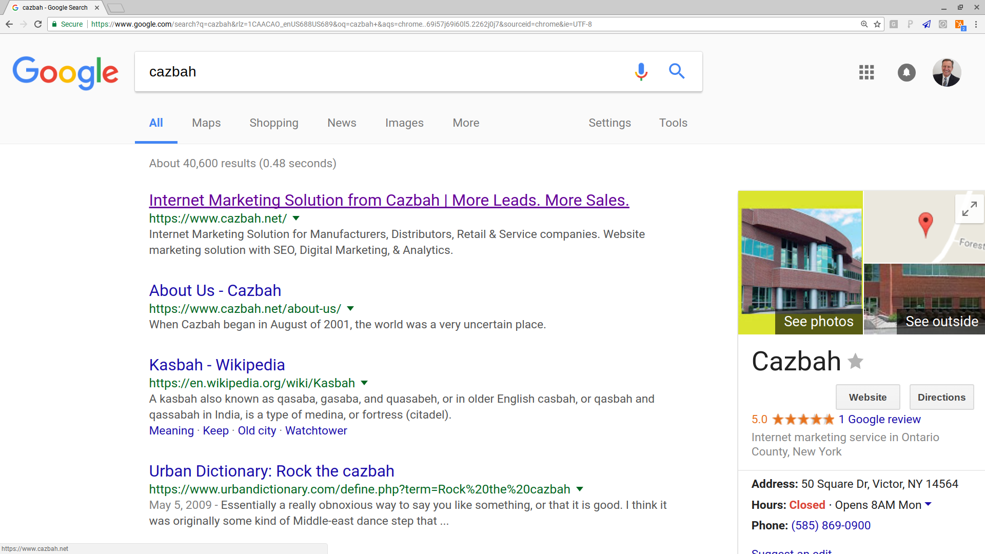 Top Of First Page On Google