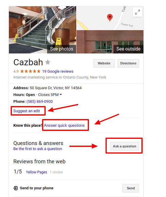 update your google my business page